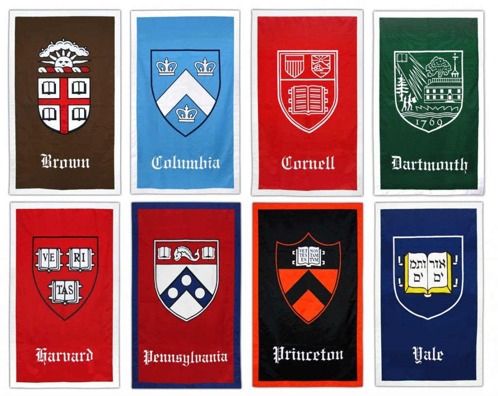 Grid of Banners of Each Ivy League School