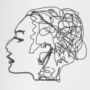 Abstract line drawing of confused or anxious woman's head